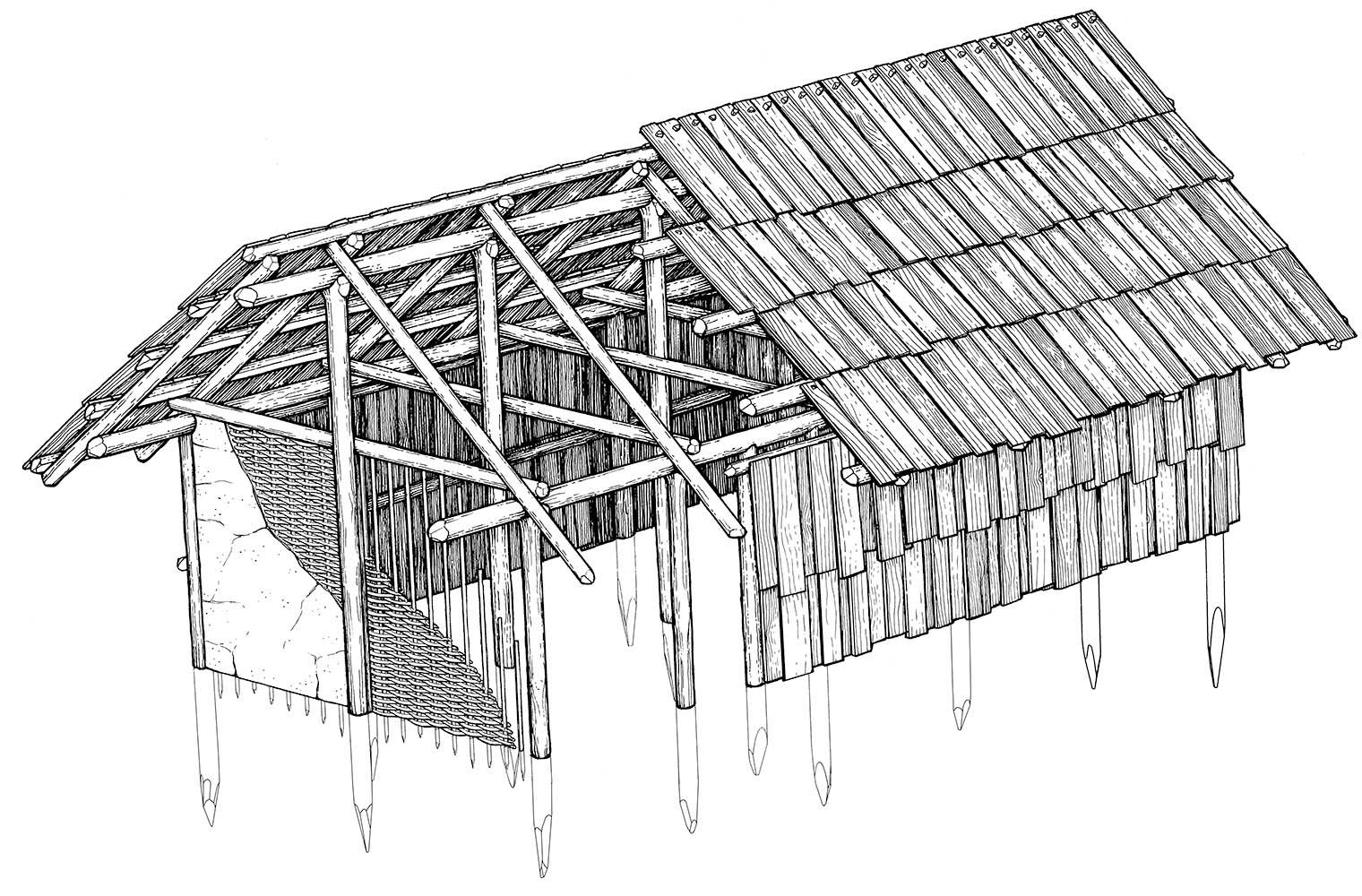 Einfacher Pfostenbau Urzeit