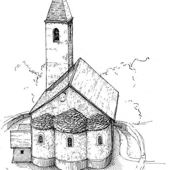 Skizze Kirche Alvaschein, 2004