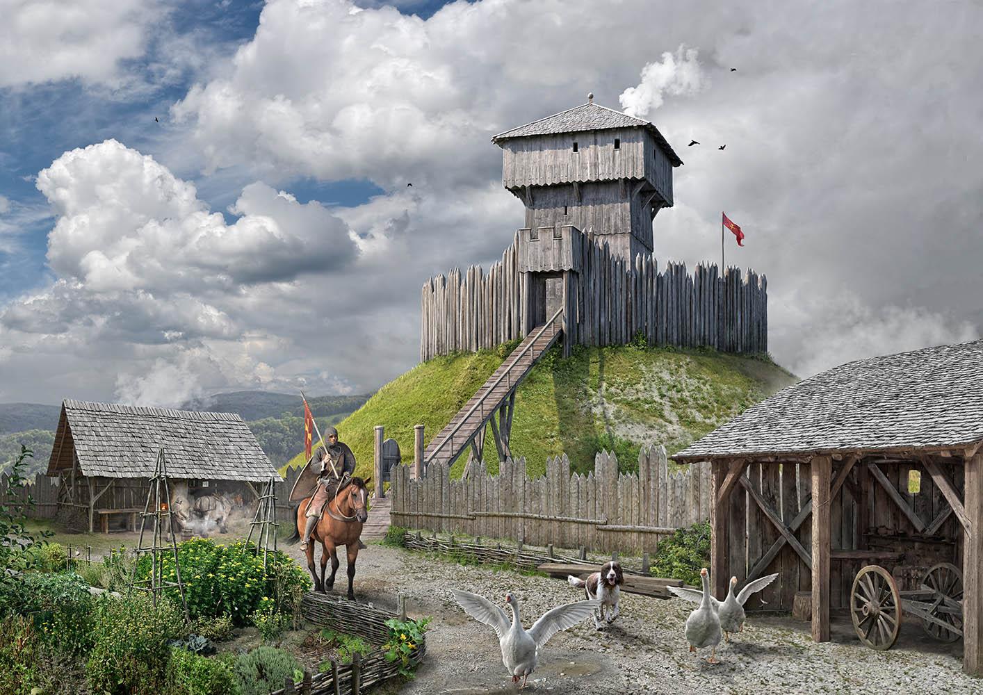 Rekonstruktion Lebensbild Motte Büchel, Zunzgen