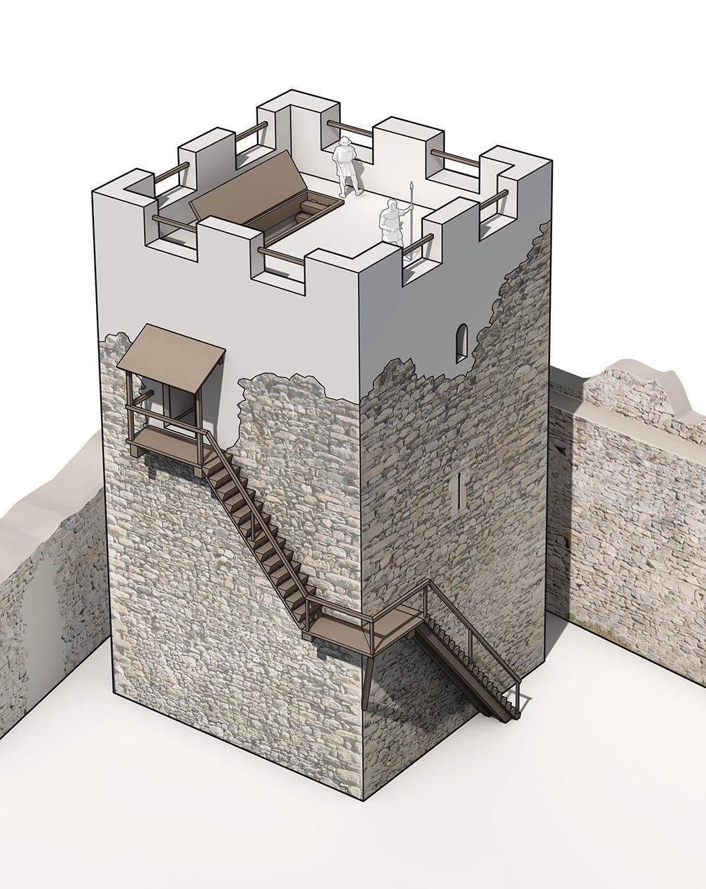 Rekonstruktionsversuch Ruine Castels, Luzein