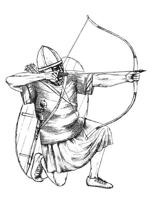 Zeichnung römischer Bogenschütze