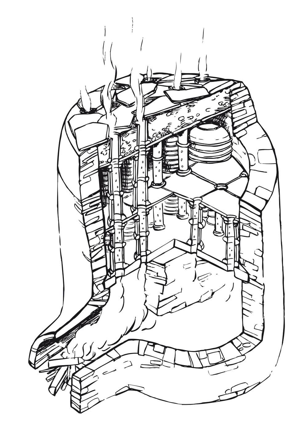 Zeichnung römischer Töpferofen
