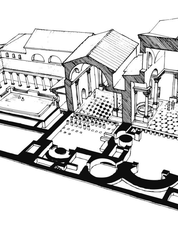 Zeichnung römische Therme