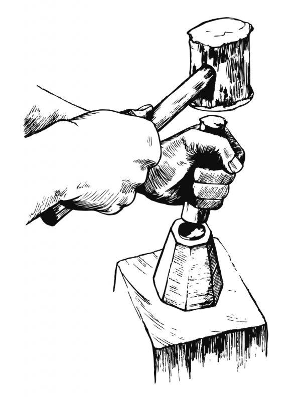 Zeichnung Münzprägung