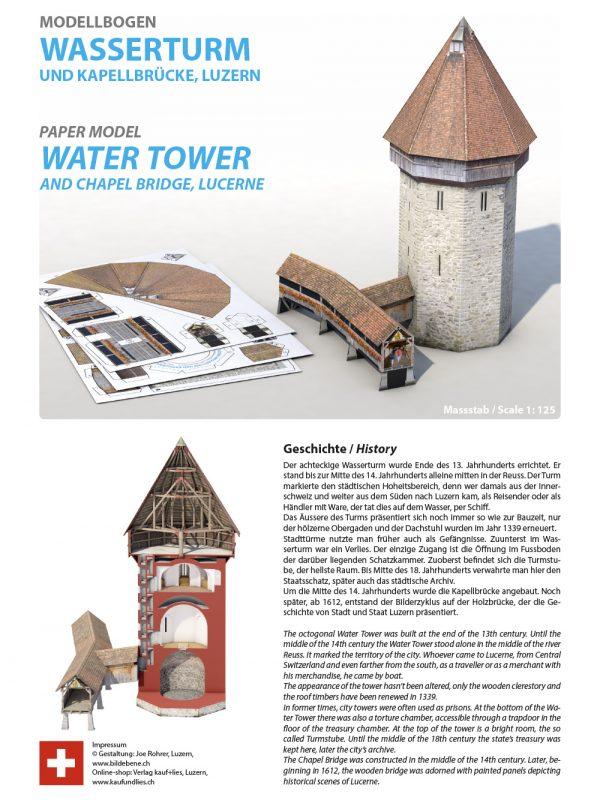 Wasserturm Kapellbrücke Luzern Modellbogen