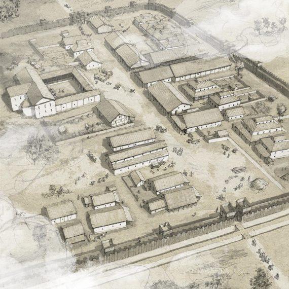 Römisches Legionslager Bleistiftzeichnung