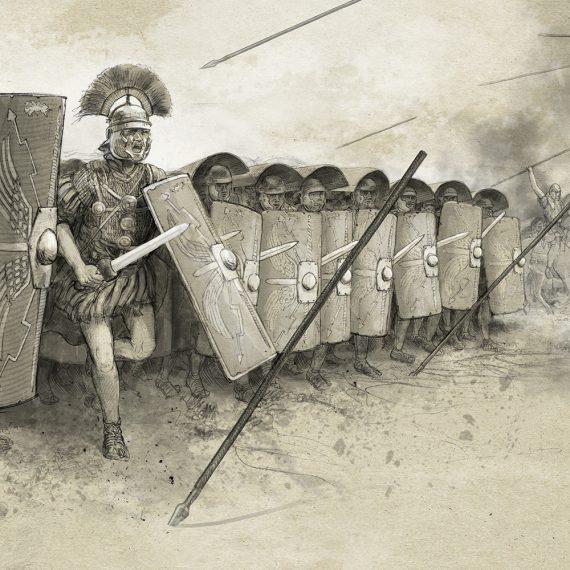 Zeichnung Legionäre Angriff